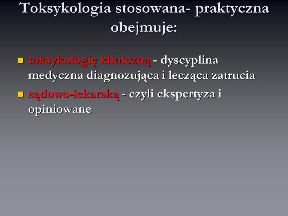 Toksykologia stosowana- praktyczna obejmuje: