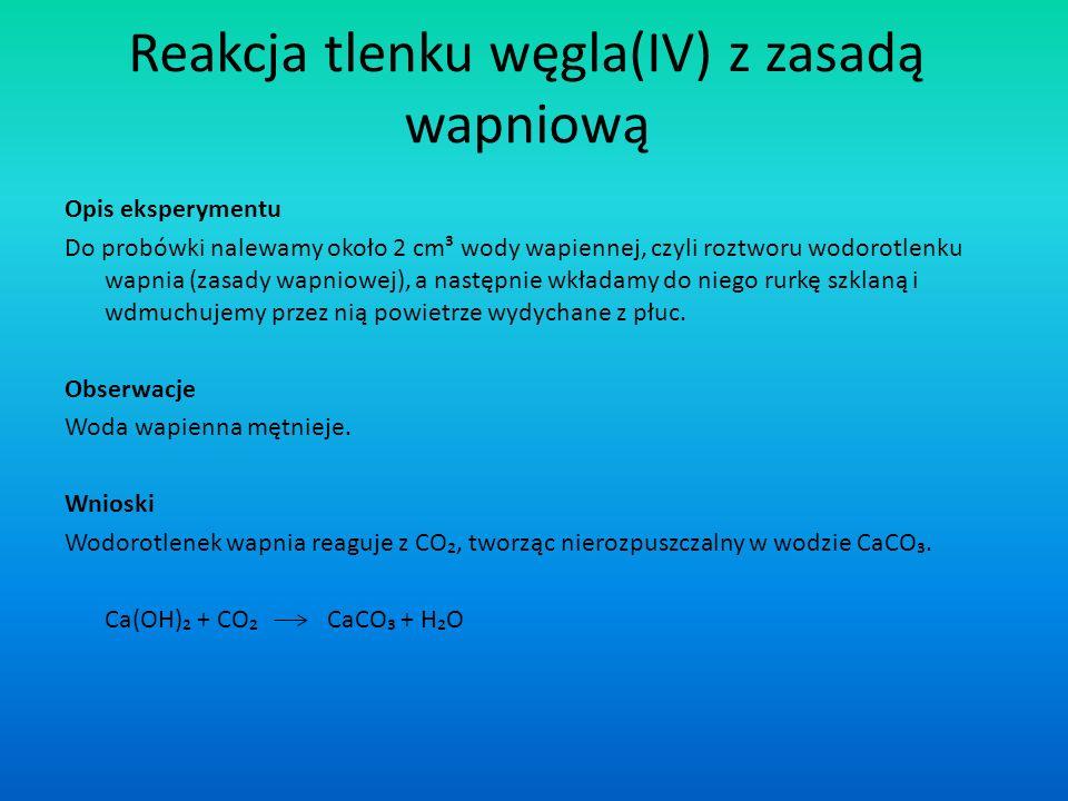 Reakcja tlenku węgla(IV) z zasadą wapniową