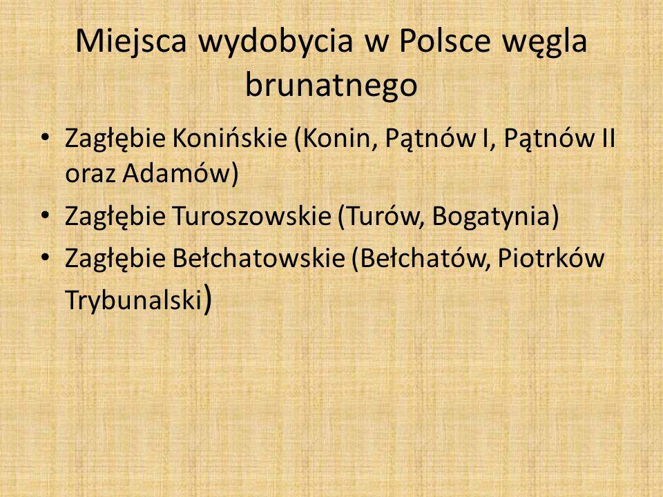 Miejsca wydobycia w Polsce węgla brunatnego