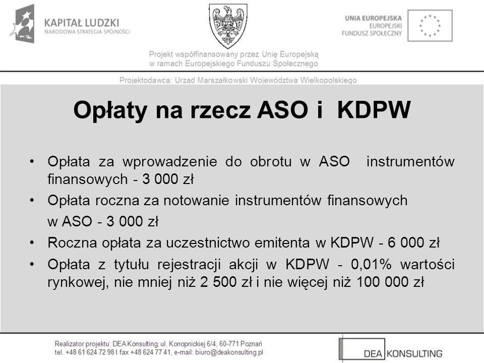 Opłaty na rzecz ASO i KDPW