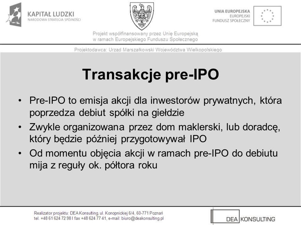 Transakcje pre-IPO Pre-IPO to emisja akcji dla inwestorów prywatnych, która poprzedza debiut spółki na giełdzie.