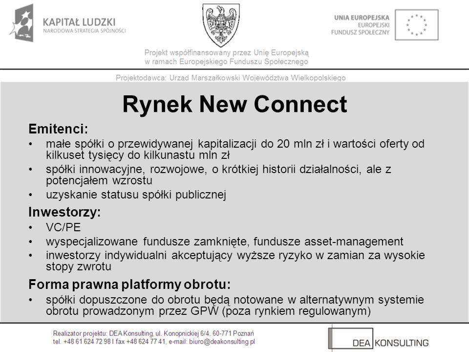 Rynek New Connect Emitenci: Inwestorzy: Forma prawna platformy obrotu: