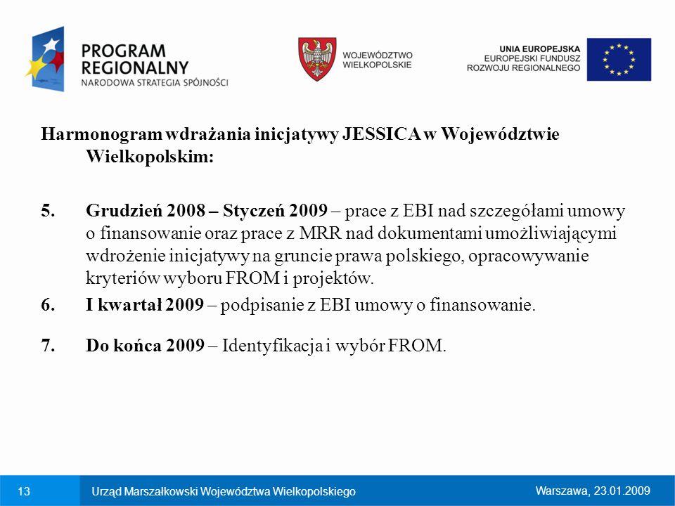 Harmonogram wdrażania inicjatywy JESSICA w Województwie Wielkopolskim: