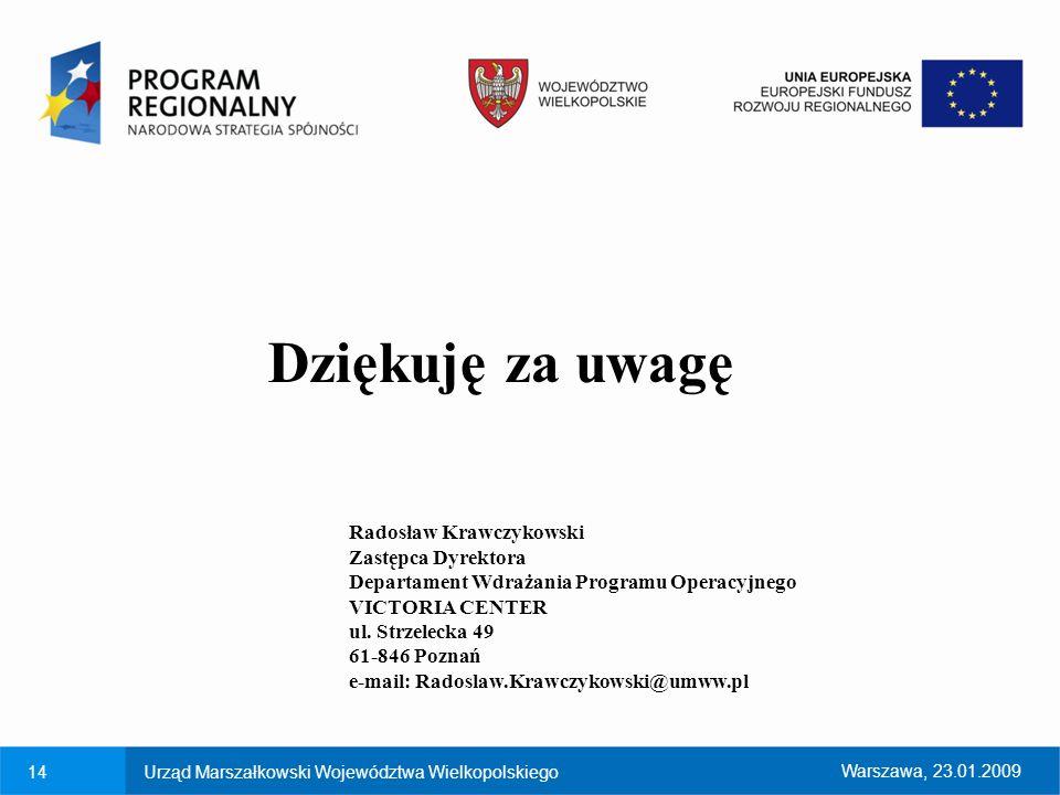 Dziękuję za uwagę Radosław Krawczykowski Zastępca Dyrektora