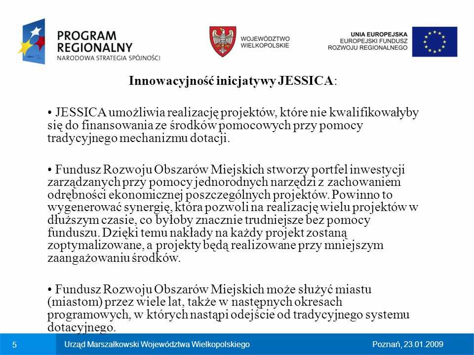 Innowacyjność inicjatywy JESSICA: