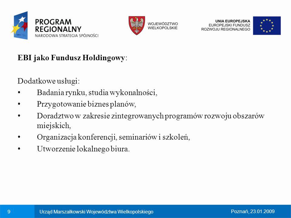 EBI jako Fundusz Holdingowy: Dodatkowe usługi: