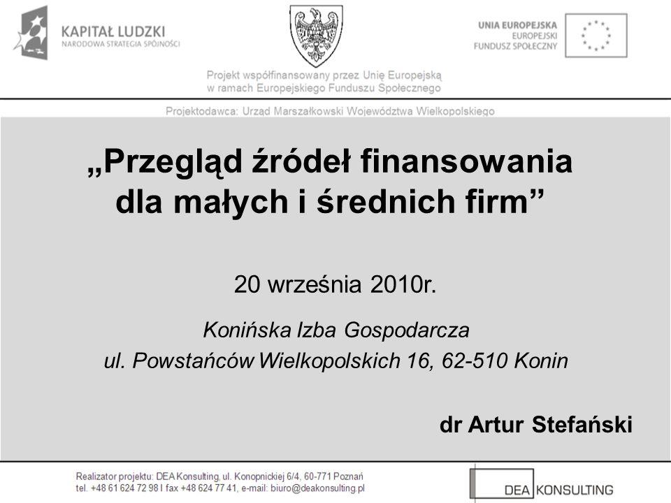 """""""Przegląd źródeł finansowania dla małych i średnich firm"""
