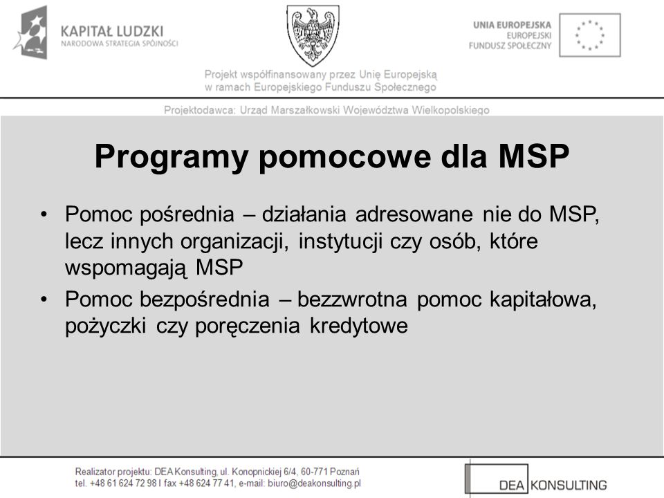 Programy pomocowe dla MSP