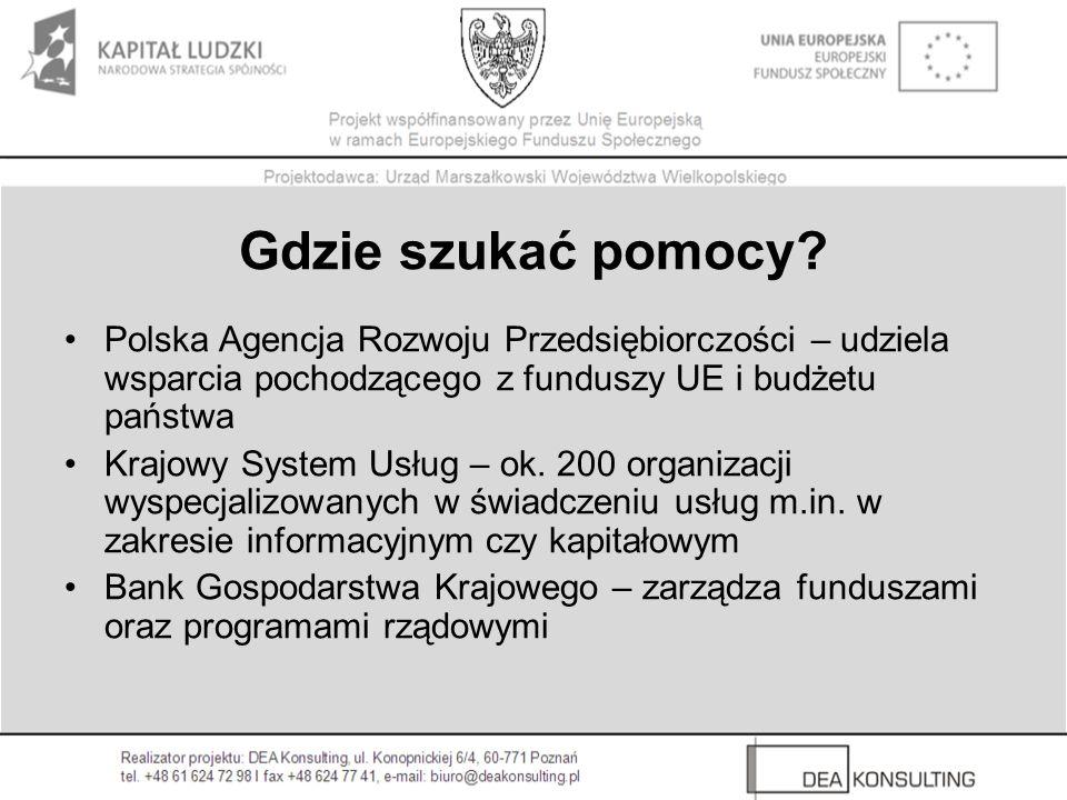 Gdzie szukać pomocy Polska Agencja Rozwoju Przedsiębiorczości – udziela wsparcia pochodzącego z funduszy UE i budżetu państwa.