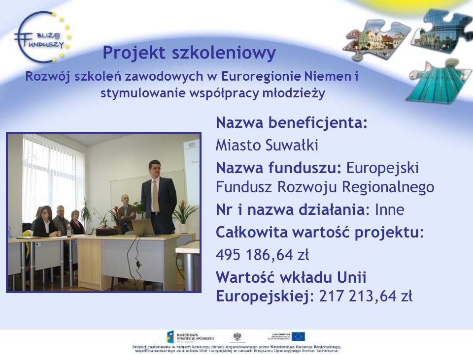 Projekt szkoleniowy Rozwój szkoleń zawodowych w Euroregionie Niemen i