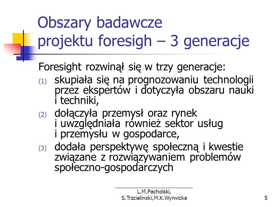 Obszary badawcze projektu foresigh – 3 generacje