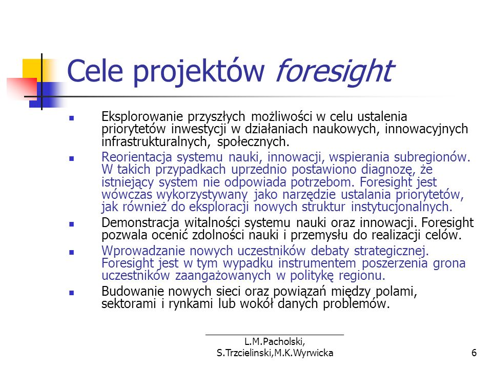Cele projektów foresight