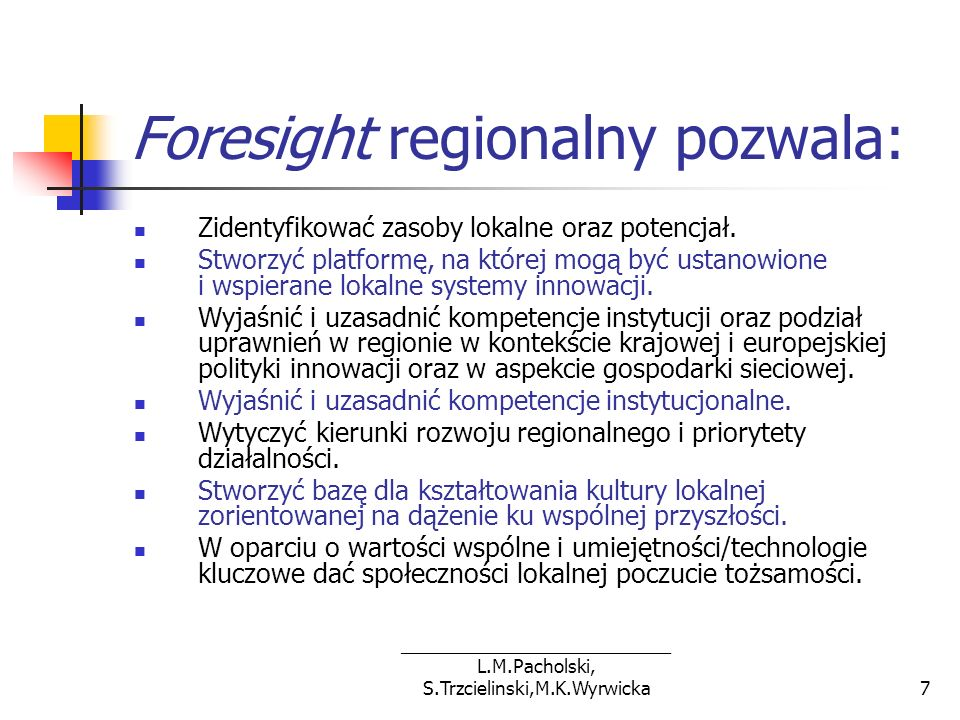 Foresight regionalny pozwala: