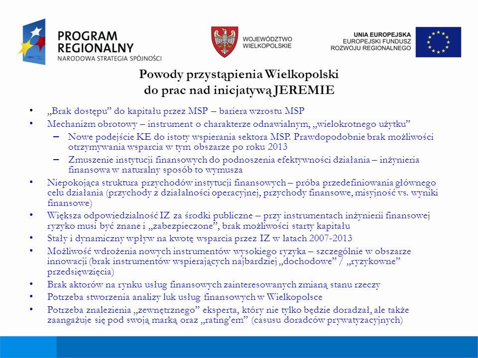 Powody przystąpienia Wielkopolski do prac nad inicjatywą JEREMIE