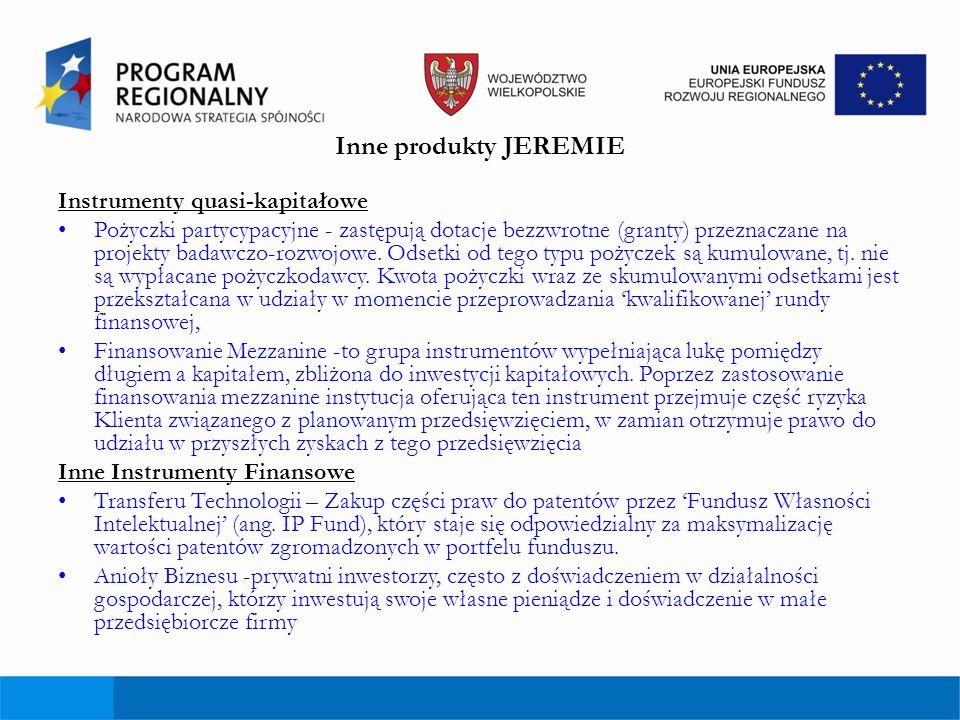 Inne produkty JEREMIE Instrumenty quasi-kapitałowe