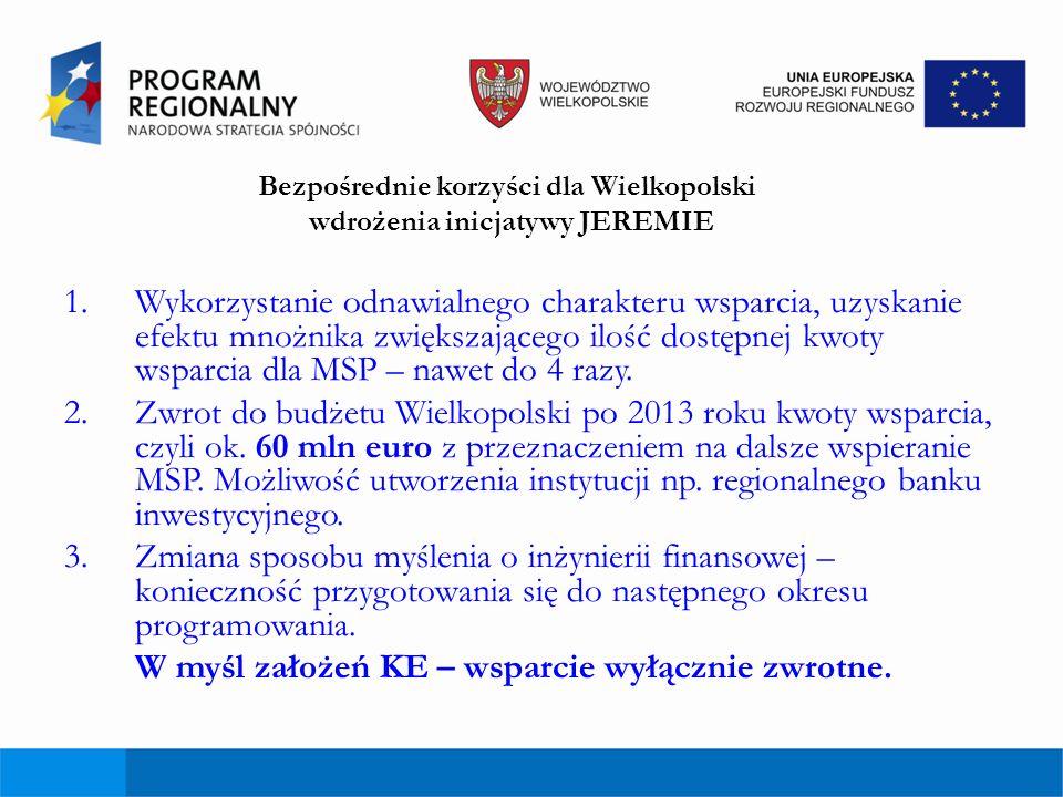 Bezpośrednie korzyści dla Wielkopolski wdrożenia inicjatywy JEREMIE