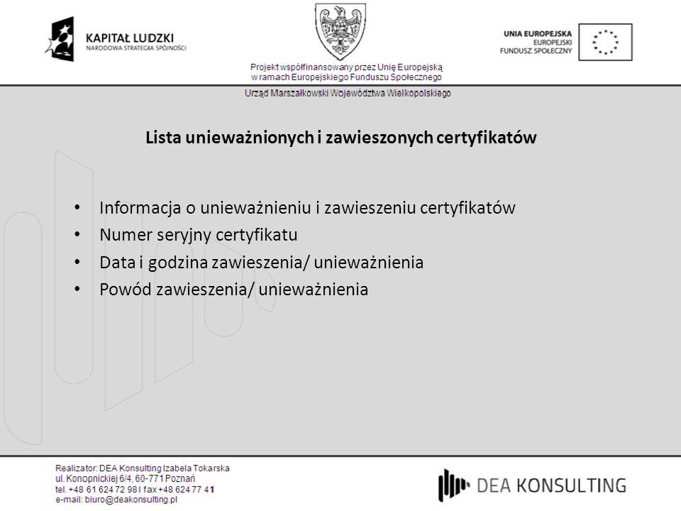 Lista unieważnionych i zawieszonych certyfikatów