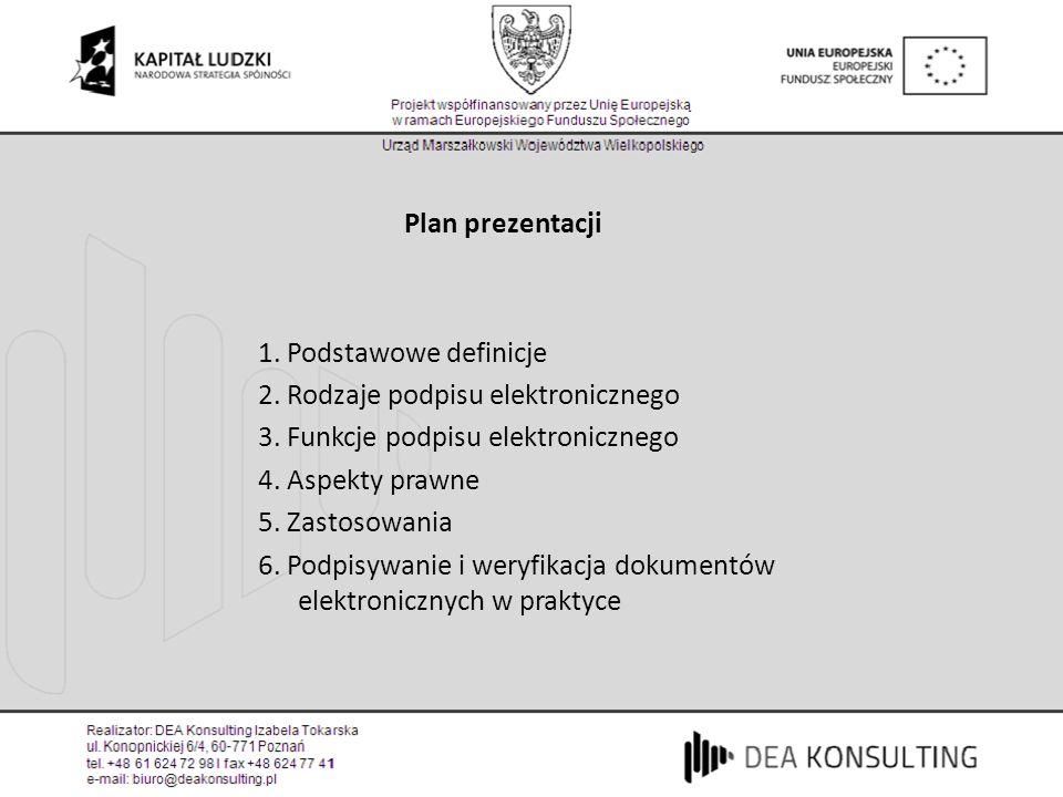 Plan prezentacji 1. Podstawowe definicje. 2. Rodzaje podpisu elektronicznego. 3. Funkcje podpisu elektronicznego.