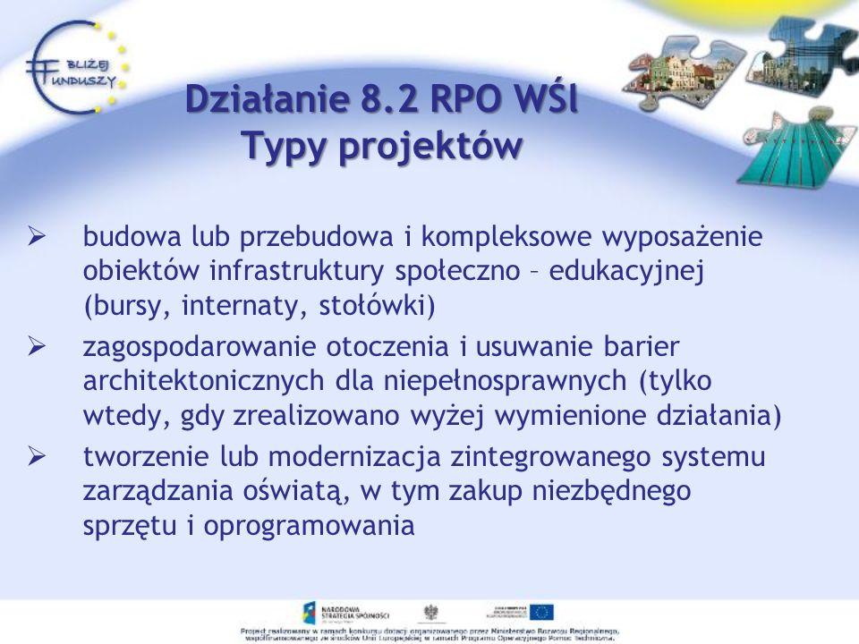 Działanie 8.2 RPO WŚl Typy projektów