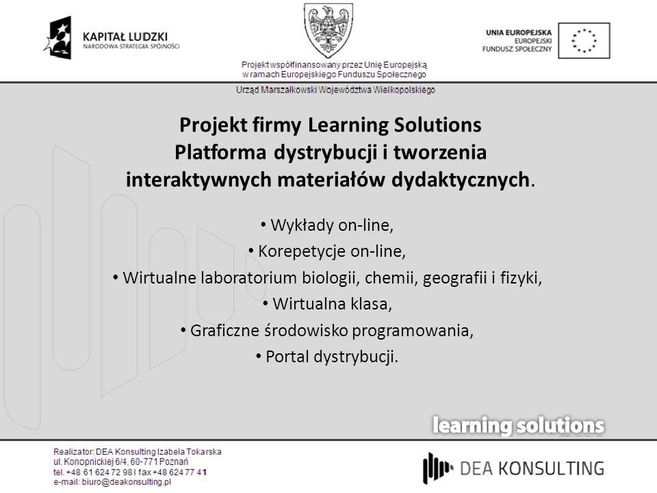Projekt firmy Learning Solutions Platforma dystrybucji i tworzenia interaktywnych materiałów dydaktycznych.
