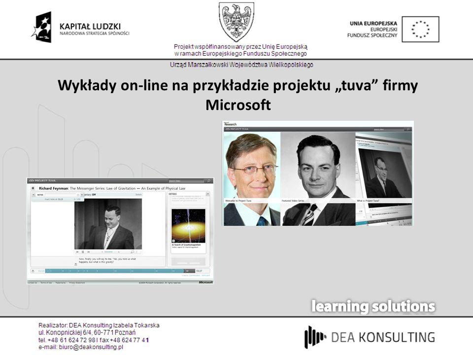 """Wykłady on-line na przykładzie projektu """"tuva firmy Microsoft"""