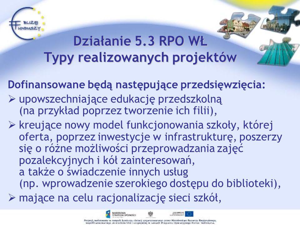 Działanie 5.3 RPO WŁ Typy realizowanych projektów