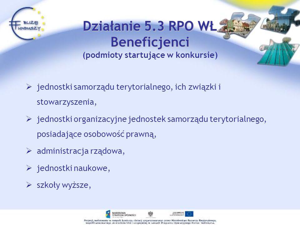 Działanie 5.3 RPO WŁ Beneficjenci (podmioty startujące w konkursie)