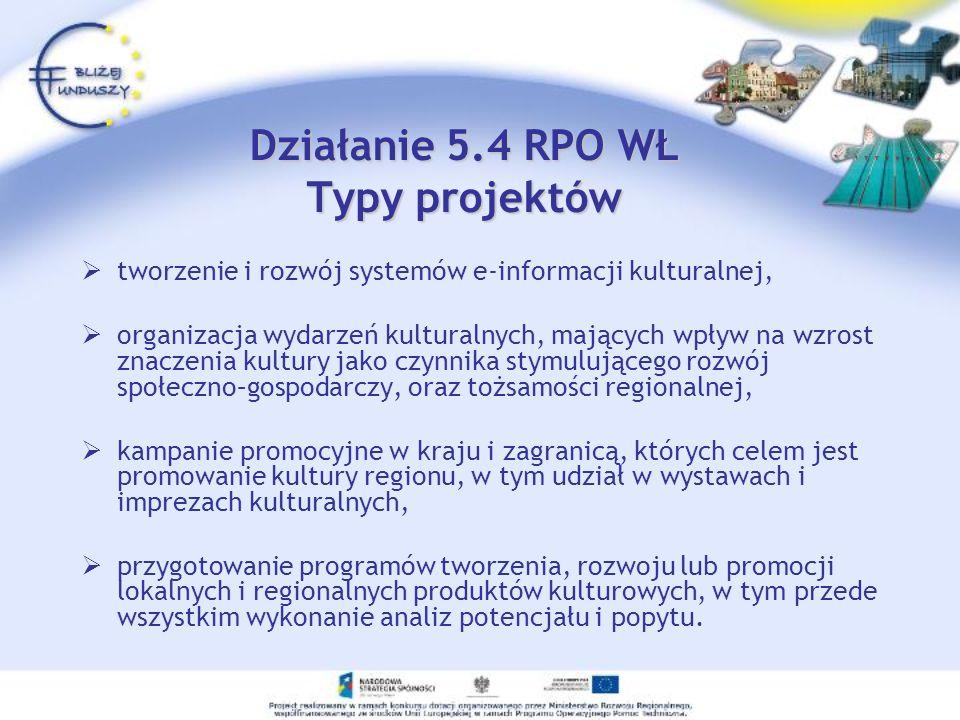 Działanie 5.4 RPO WŁ Typy projektów