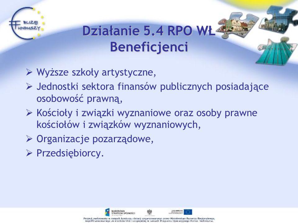 Działanie 5.4 RPO WŁ Beneficjenci