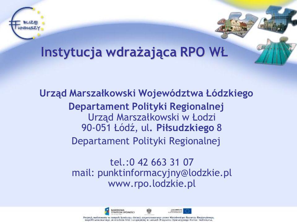 Instytucja wdrażająca RPO WŁ