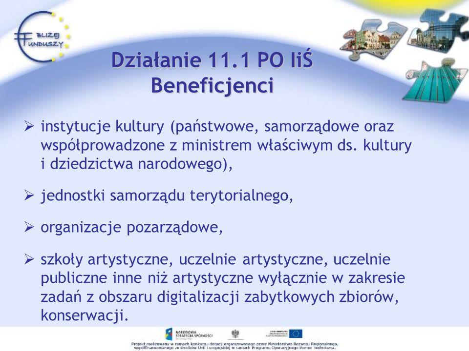 Działanie 11.1 PO IiŚ Beneficjenci