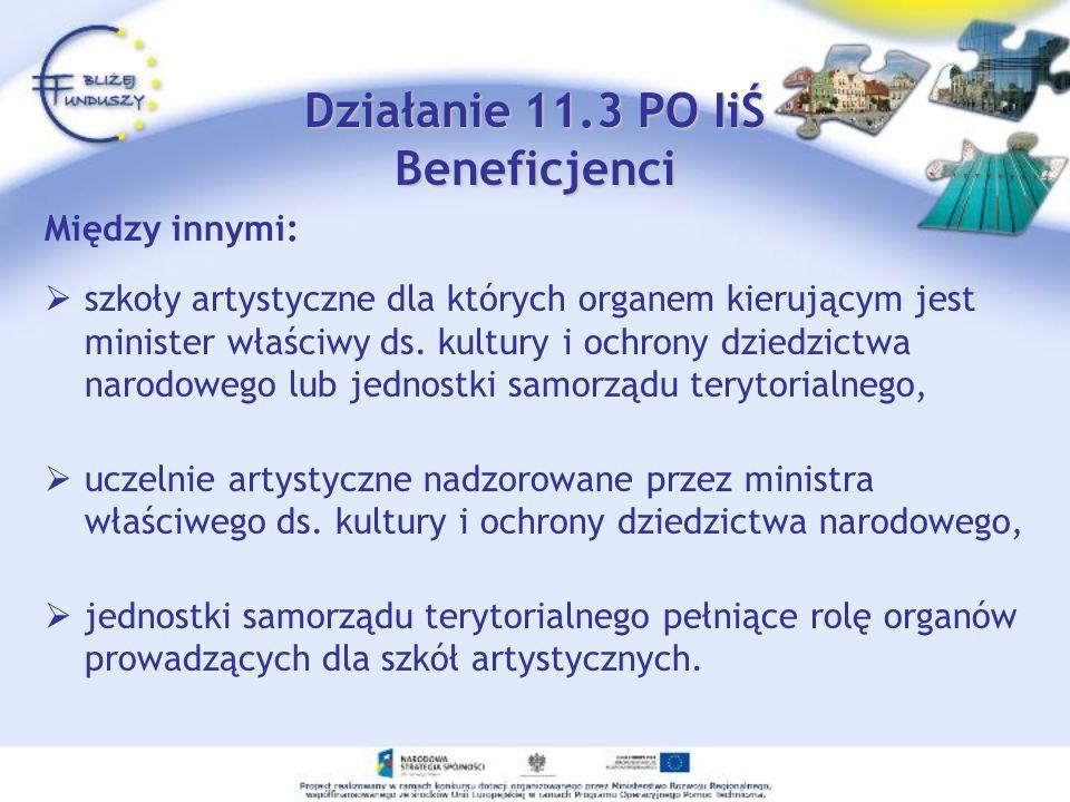 Działanie 11.3 PO IiŚ Beneficjenci