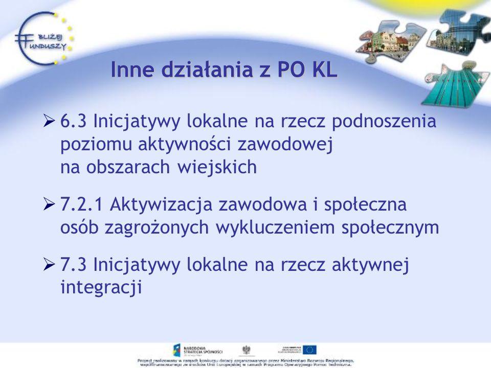 Inne działania z PO KL 6.3 Inicjatywy lokalne na rzecz podnoszenia poziomu aktywności zawodowej na obszarach wiejskich.