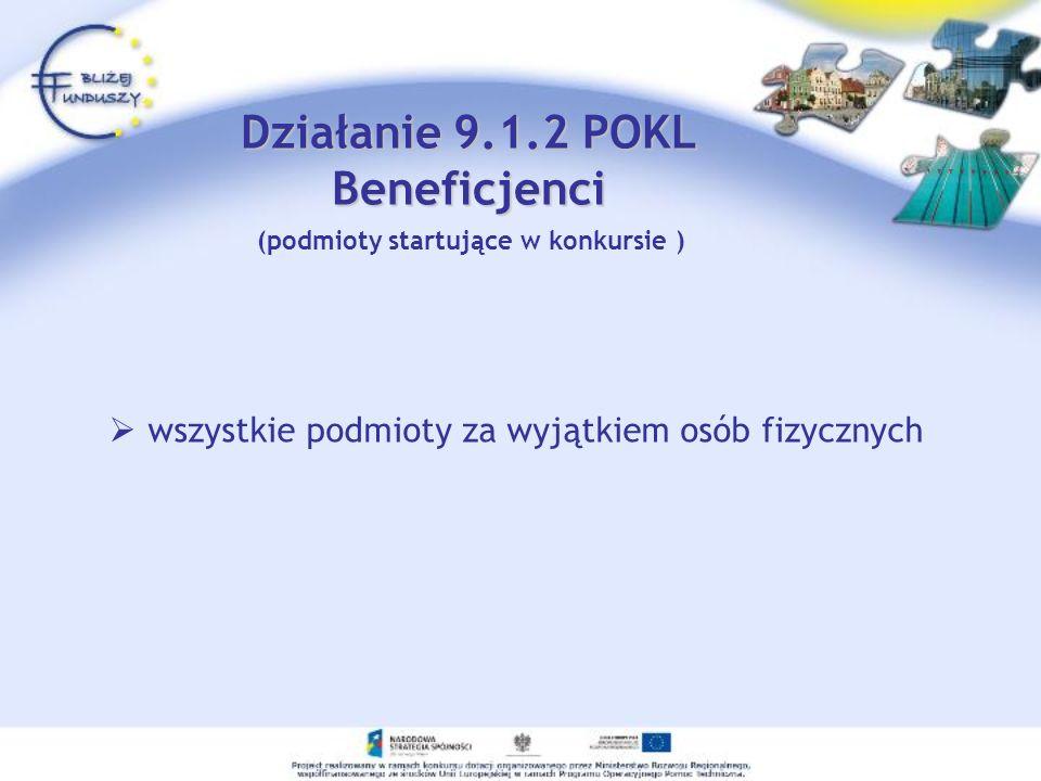 Działanie 9.1.2 POKL Beneficjenci (podmioty startujące w konkursie )
