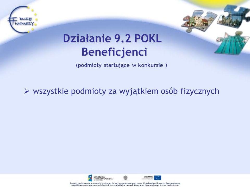 Działanie 9.2 POKL Beneficjenci (podmioty startujące w konkursie )