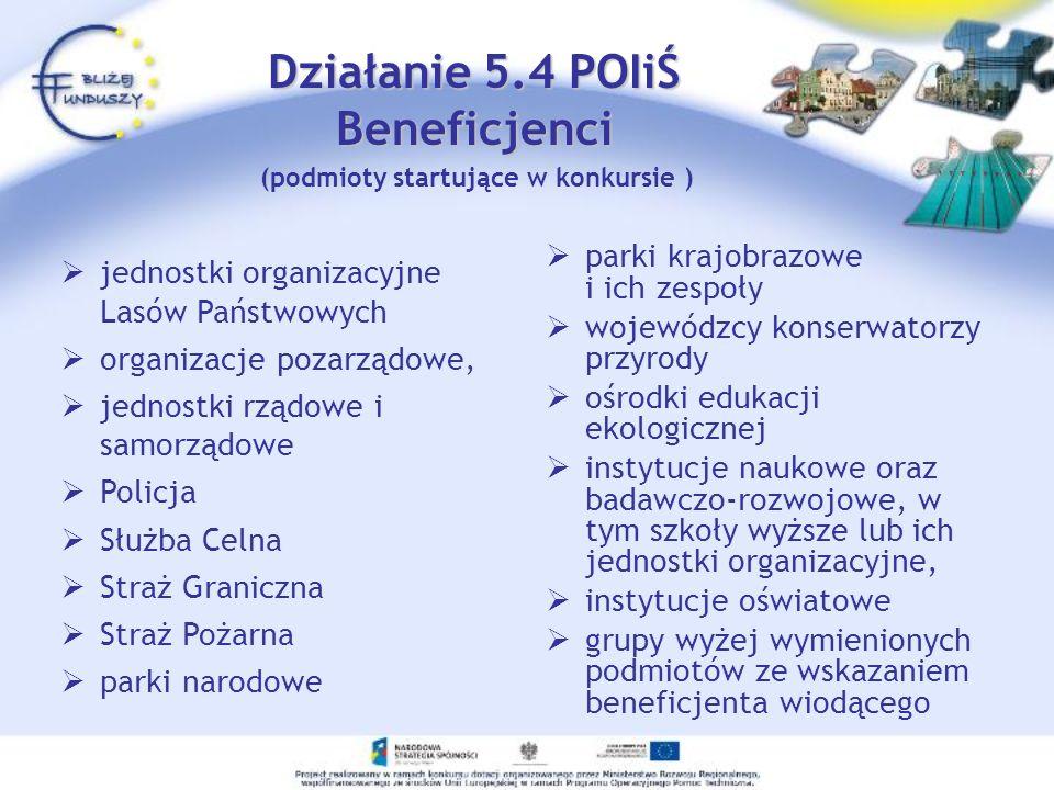 Działanie 5.4 POIiŚ Beneficjenci (podmioty startujące w konkursie )