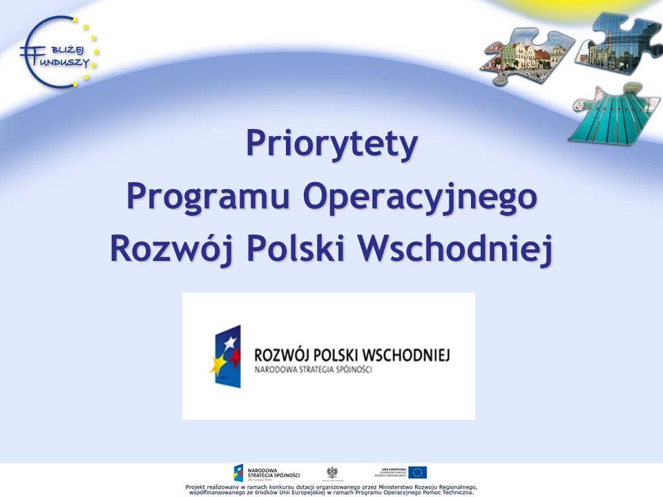 Priorytety Programu Operacyjnego Rozwój Polski Wschodniej