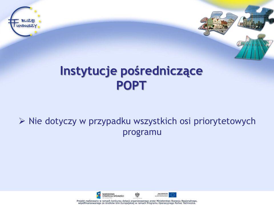 Instytucje pośredniczące POPT