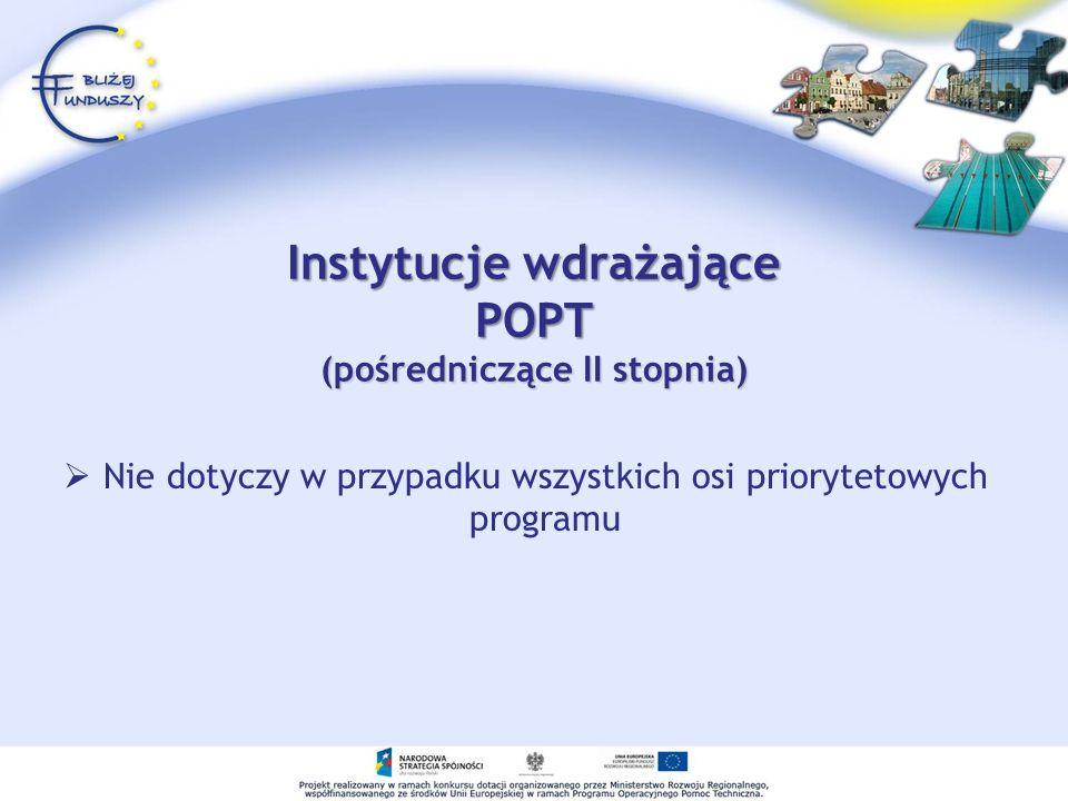 Instytucje wdrażające POPT (pośredniczące II stopnia)
