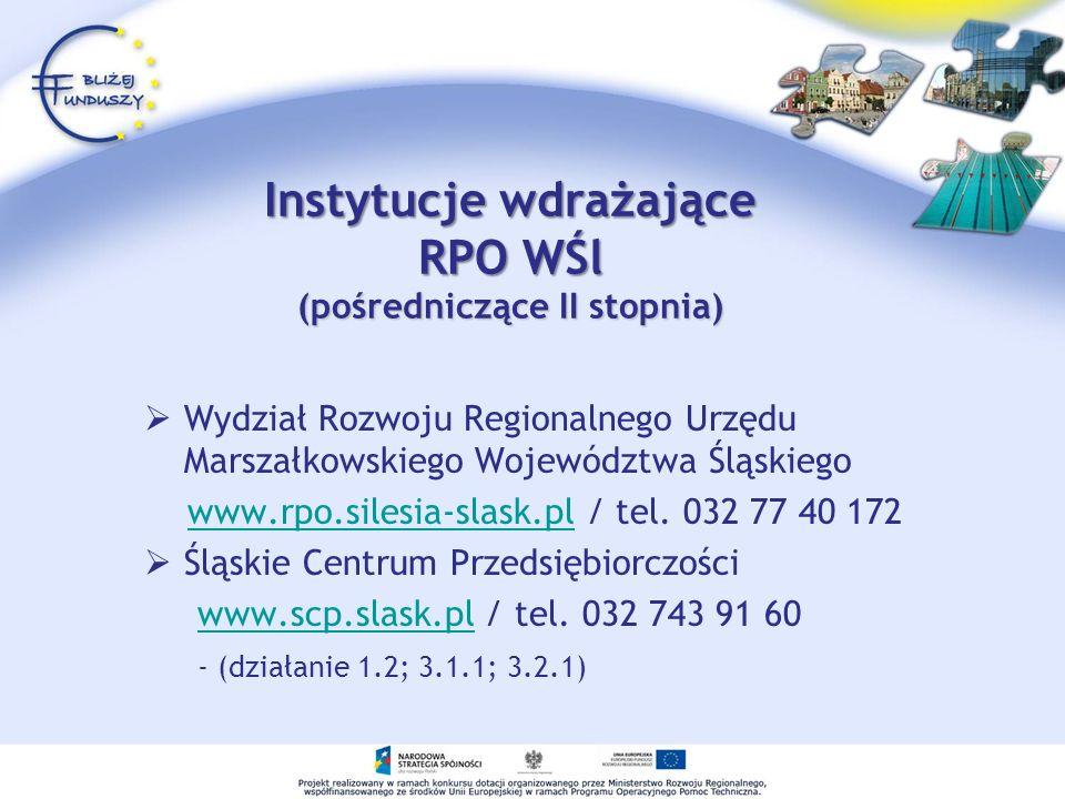 Instytucje wdrażające RPO WŚl (pośredniczące II stopnia)