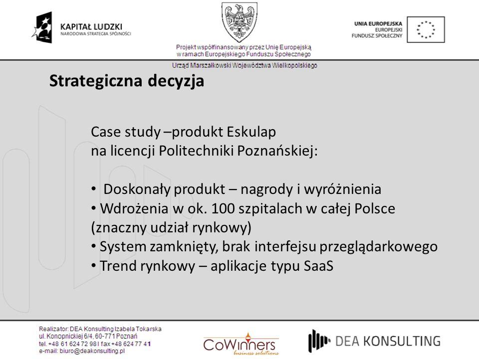 Strategiczna decyzja Case study –produkt Eskulap na licencji Politechniki Poznańskiej: Doskonały produkt – nagrody i wyróżnienia.