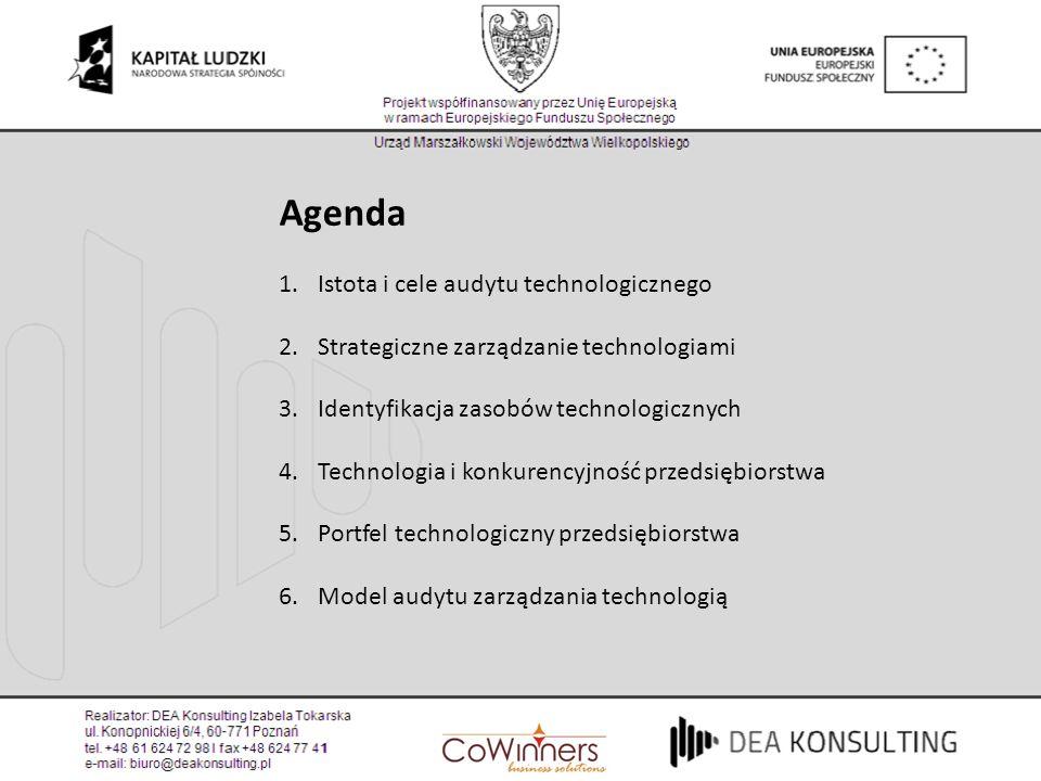 Agenda Istota i cele audytu technologicznego