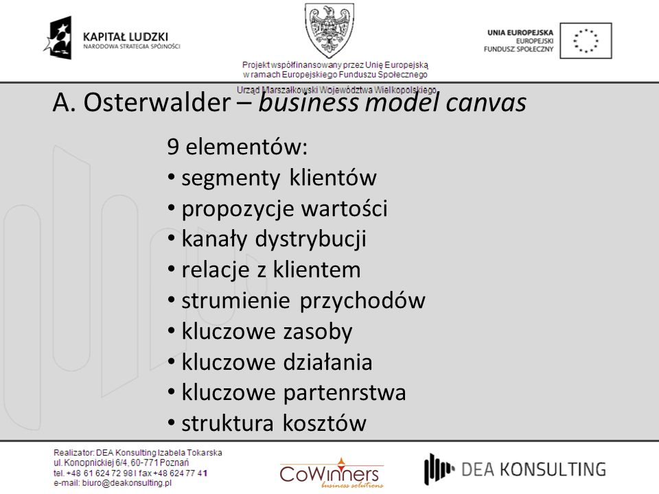 A. Osterwalder – business model canvas