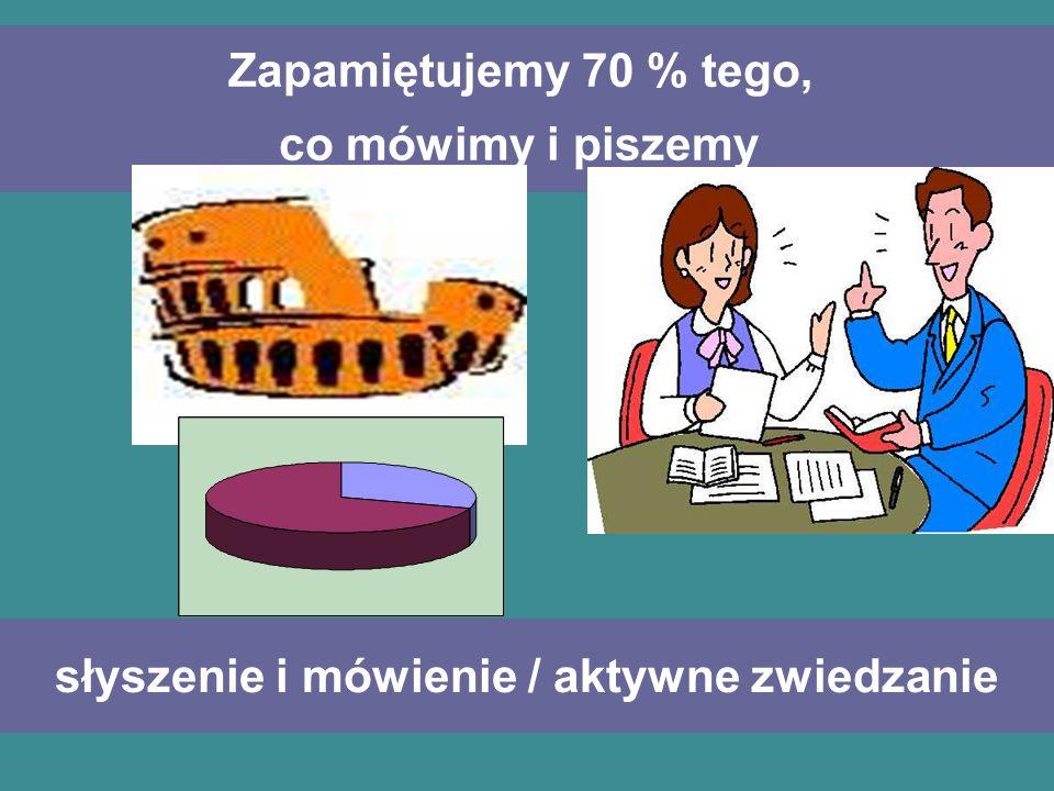 Zapamiętujemy 70 % tego, co mówimy i piszemy
