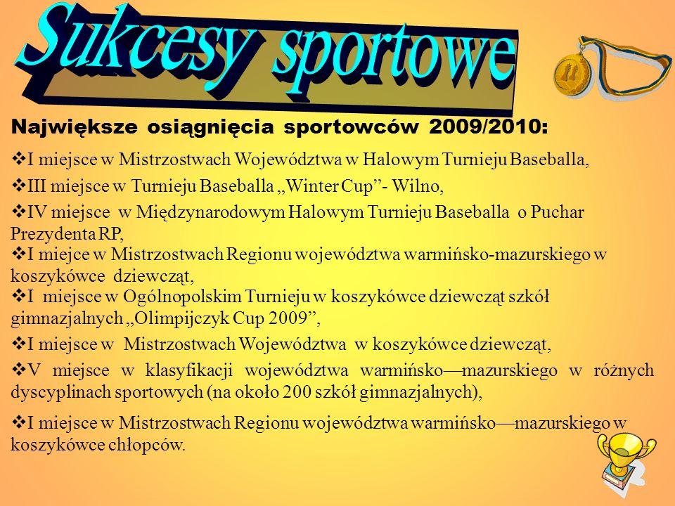 Sukcesy sportowe Największe osiągnięcia sportowców 2009/2010: