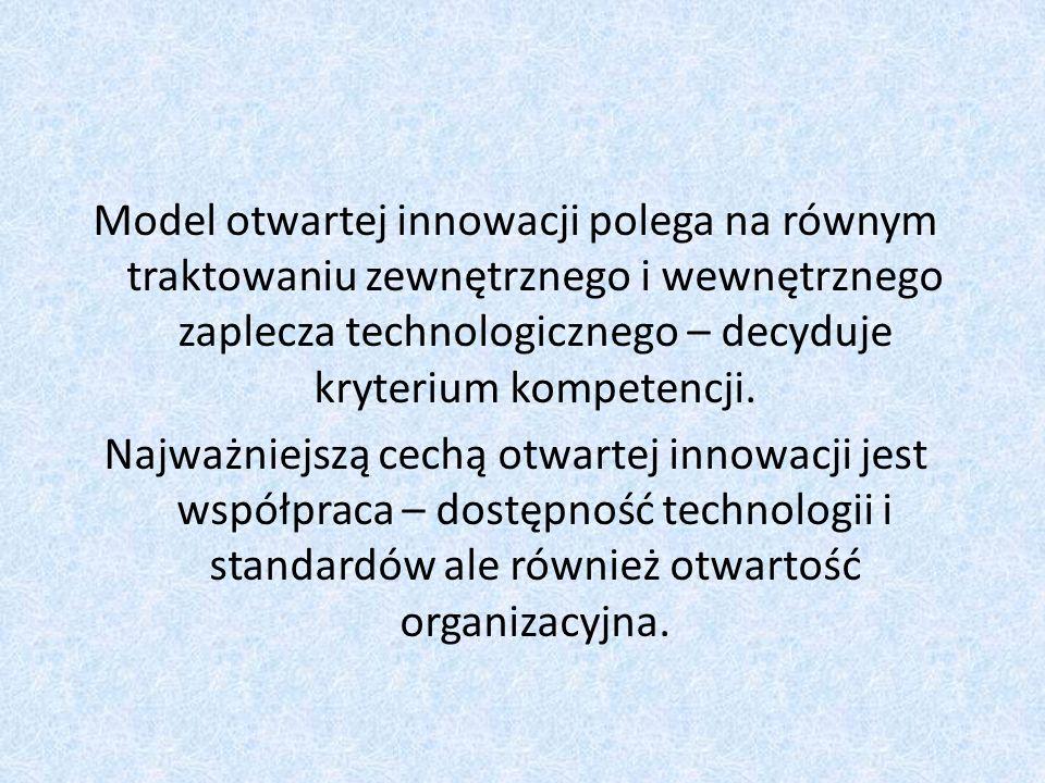 Model otwartej innowacji polega na równym traktowaniu zewnętrznego i wewnętrznego zaplecza technologicznego – decyduje kryterium kompetencji.