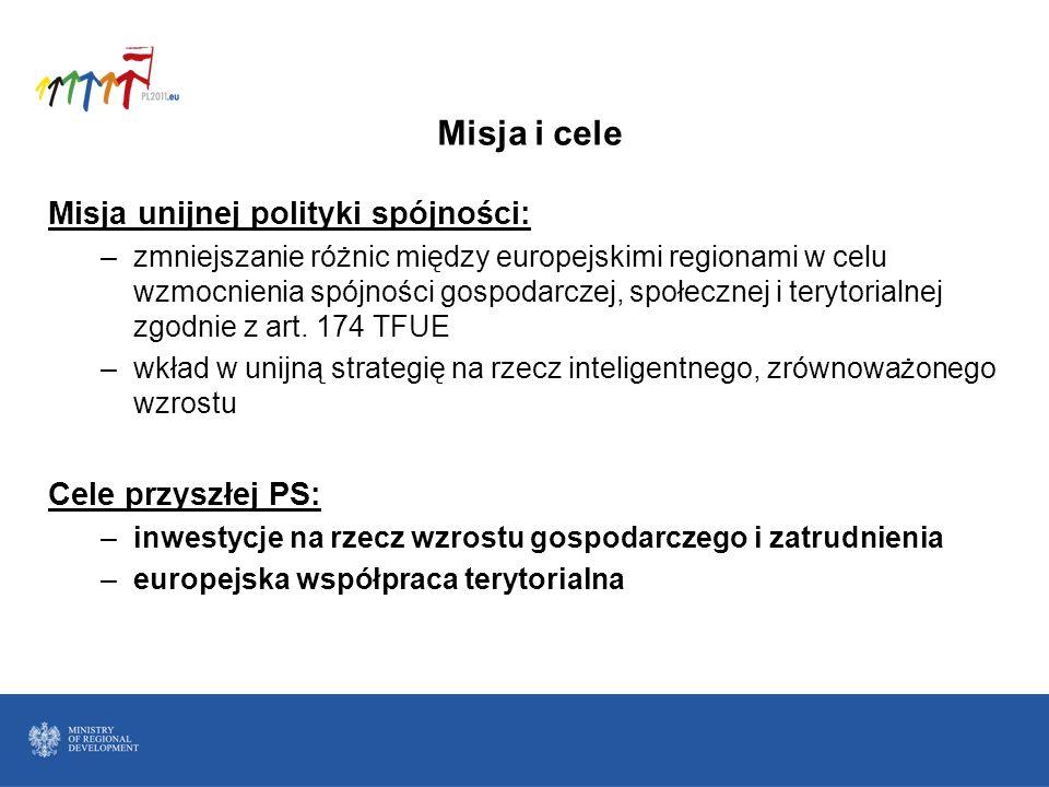 Misja i cele Misja unijnej polityki spójności: Cele przyszłej PS: