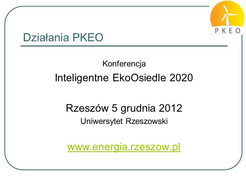 Działania PKEO Inteligentne EkoOsiedle 2020 Rzeszów 5 grudnia 2012