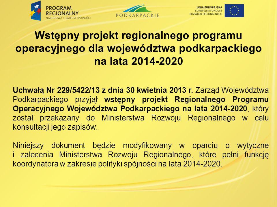 Wstępny projekt regionalnego programu operacyjnego dla województwa podkarpackiego