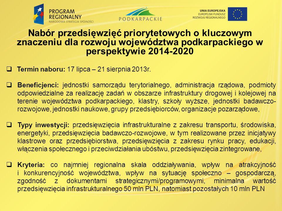 Nabór przedsięwzięć priorytetowych o kluczowym znaczeniu dla rozwoju województwa podkarpackiego w perspektywie 2014-2020